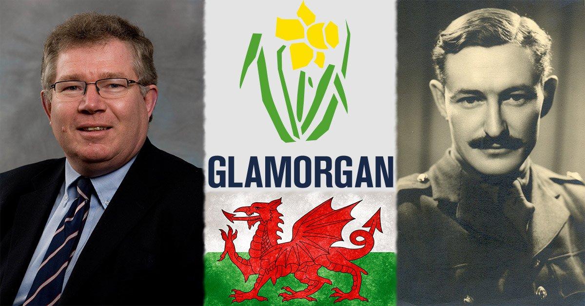 Andrew Hignell left, GlamorganCCC Logo & Welsh Flag centre, Maurice Turnbull right