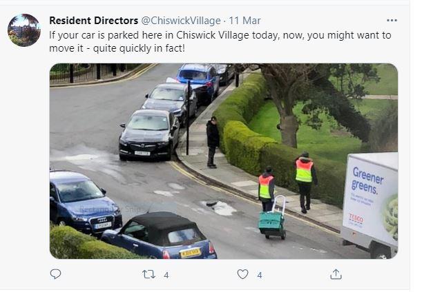 Chiswick Village 11 March tweet