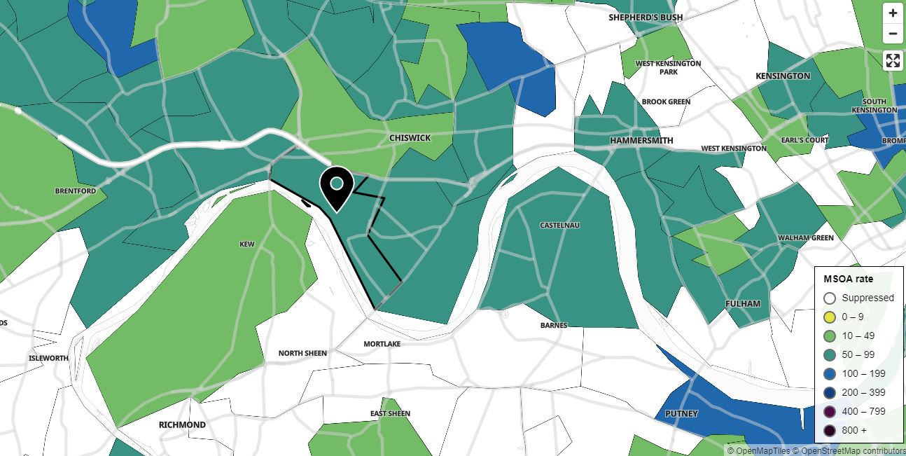 Covid cases - map of Chiswick
