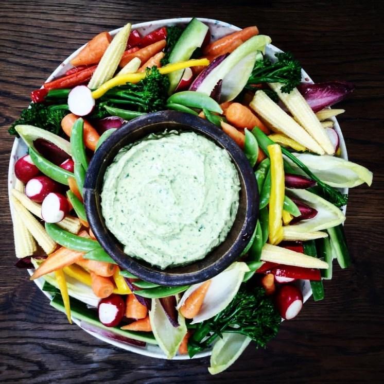 Crudites platter with Green Goddess Dip