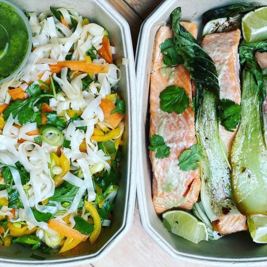 Roast wasabi salmon with pac choi & rainbow rice noodles