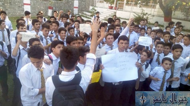 Students and teachers of the langland school and college chitral protest against Miss carry 10