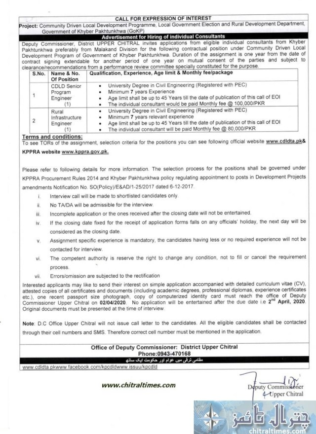 Advertisement for hiring SPE RIE for CDLD program upper Chitral scaled
