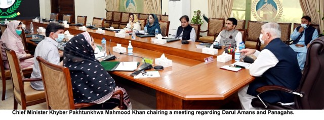 cm KP Mahmood chaired darul amans and panagahs meeting