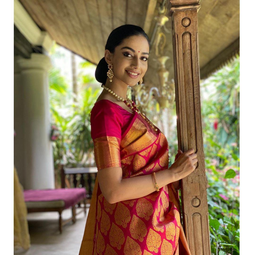 Meenakshii Chaudhary hot saree stills
