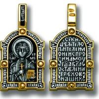 Medalion din argint aurit cu Sfantul Pantelimon
