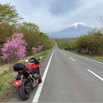 富士山へ真っすぐ続く朝霧自然公園に向かうロードにてwith CBR650R