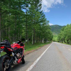 緑濃い山間部に入っていくR361のロード風景③