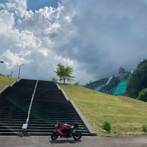 白馬ジャンプ競技場のジャンプ台にてwith CBR650R②