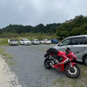 埼玉県寄居町の中間平緑地公園展望デッキの駐車場にてwith CBR650R