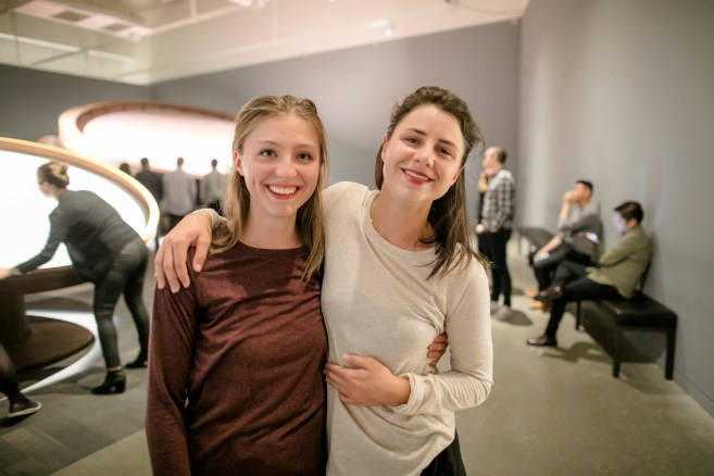 "Chloë and Courtney after performing ""Medial Prefrontal Cortex"" (2016) at the Contemporary Jewish Museum. Photo by Gary Sexton."