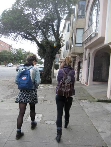 Walking to rehearsal -- mom cam captures Chlo and Co. Photo by Maggie Laird