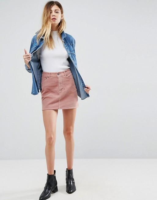 Pink Cord Skirt