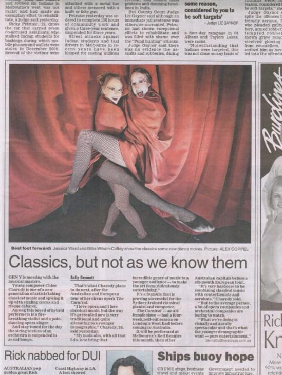 Chloé Charody - Herald Sun article May 4th 2011.