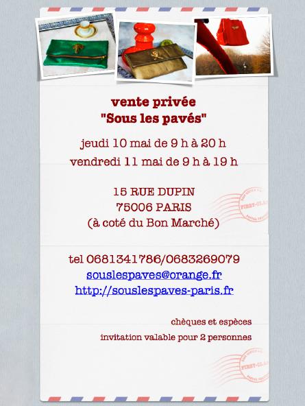 Vente privée Sous les pavés 2012