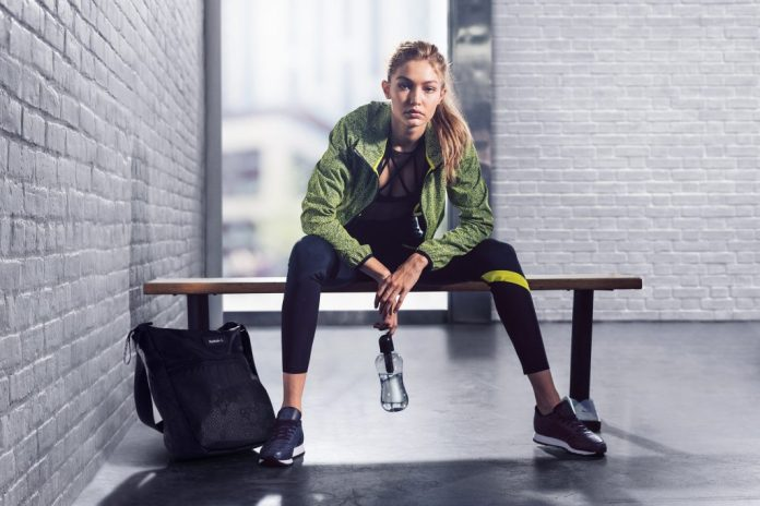 Gigi Hadid in new ads for Reebok's #PerfectNever campaign.