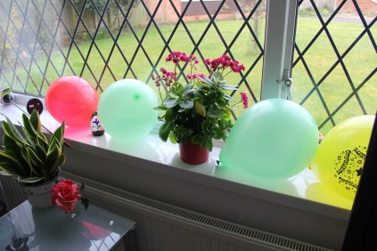 Birthday Balloons waiting for guests to arrive.