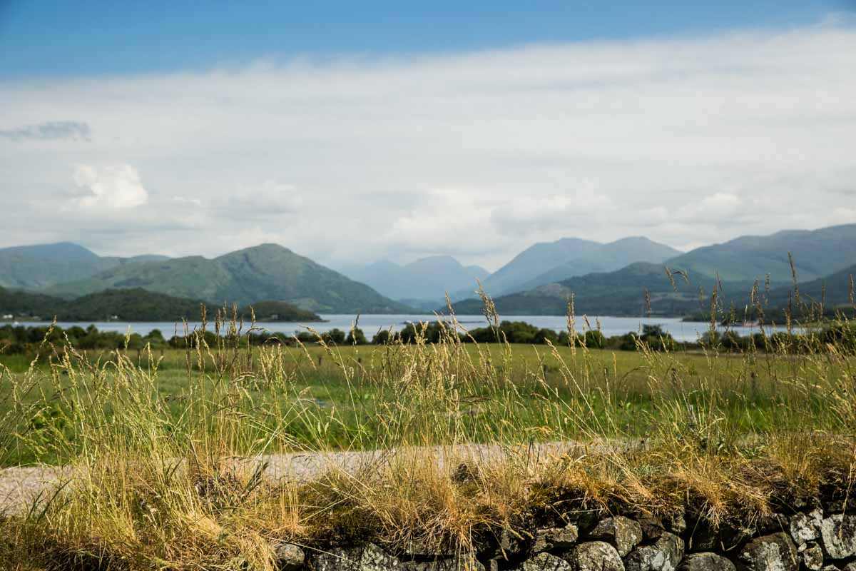 Barcaldine castle wedding photographer. View of Loch Creran and mountains from castle grounds. West coast wedding castle