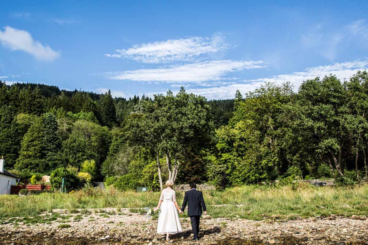 Bride and groom at Old Kilmun House wedding. Wedding photographer dunoon