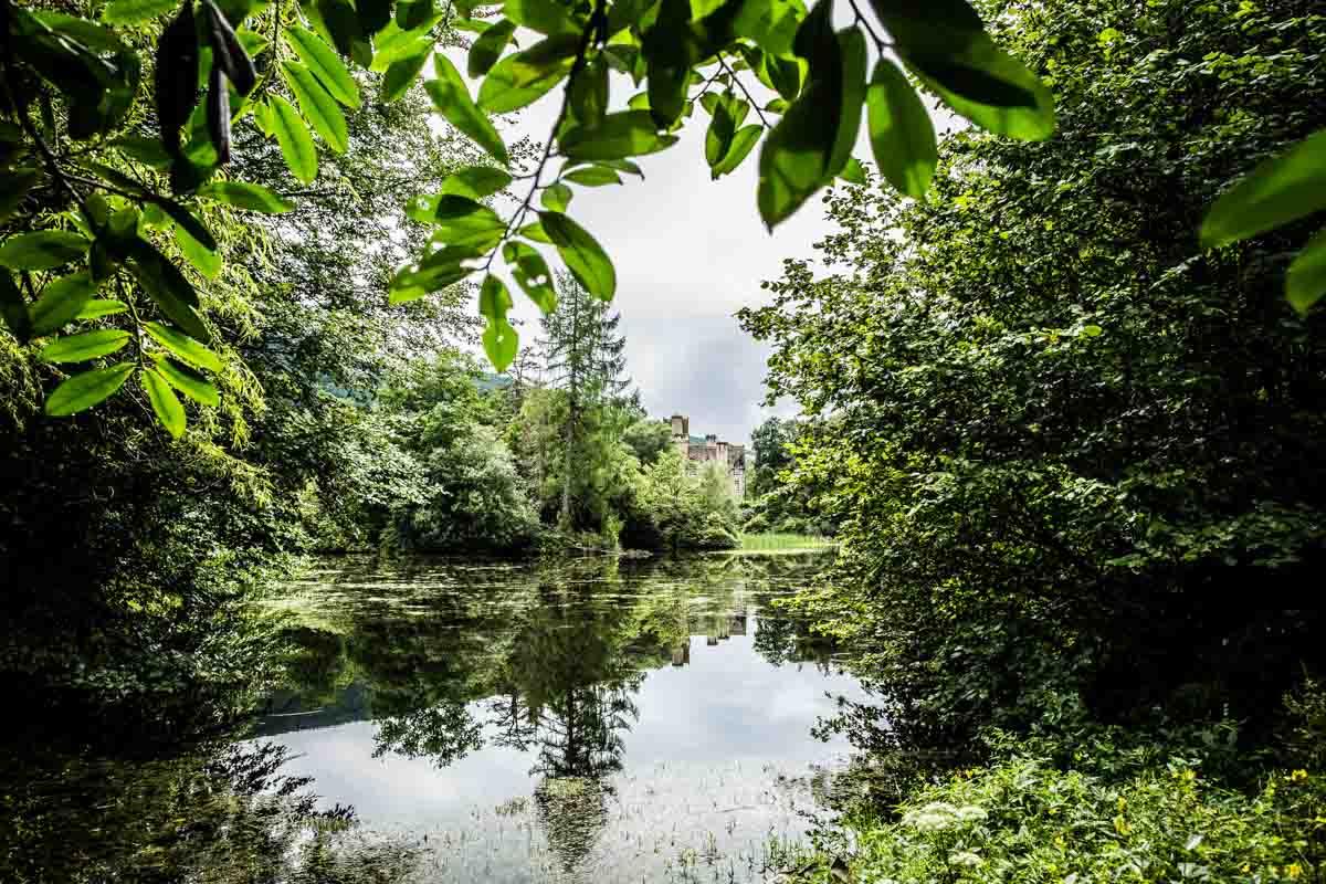 Ardkinglas lake set in the gardens. Glasgow wedding photographer.