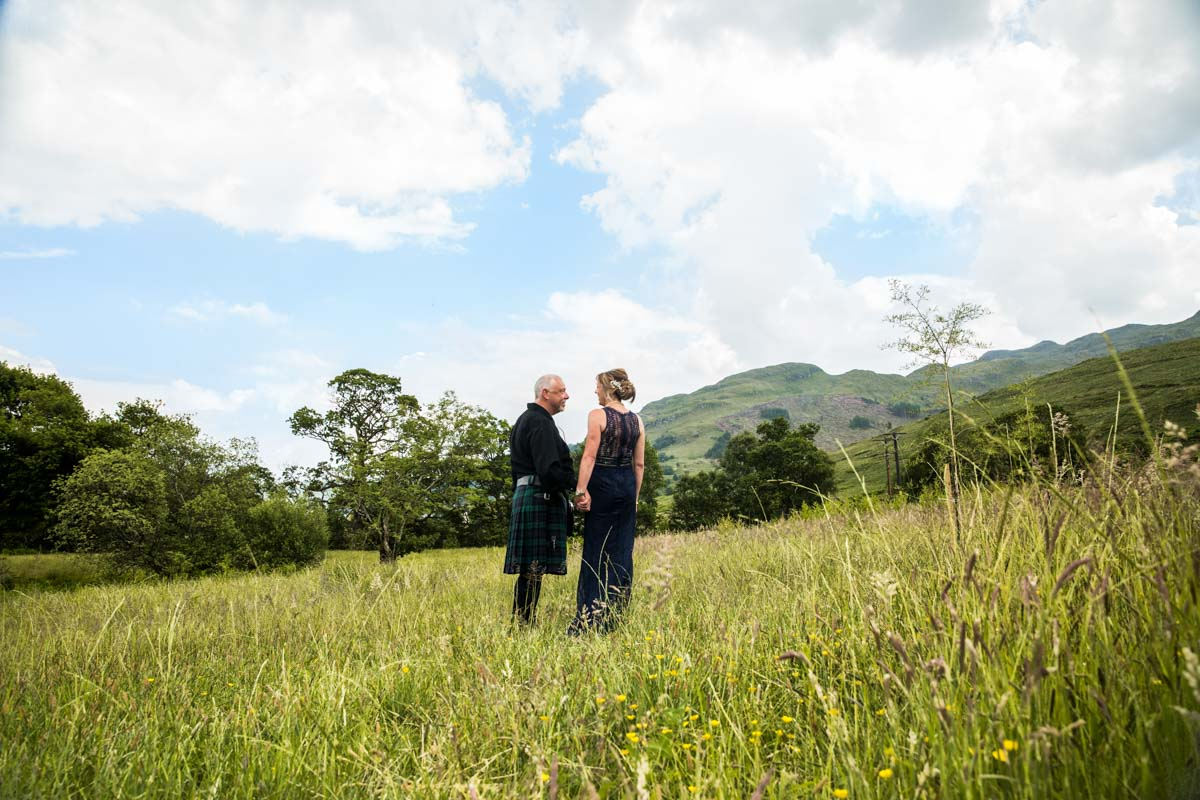 Mr and Mrs at Carrick Castle Estate wedding. Scotland elopement wedding photographer. Lodge on Loch Goil wedding