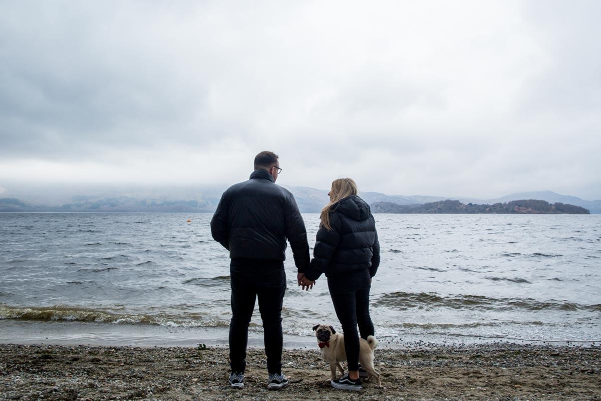 Engagement photoshoot on Luss Beach at Loch Lomond
