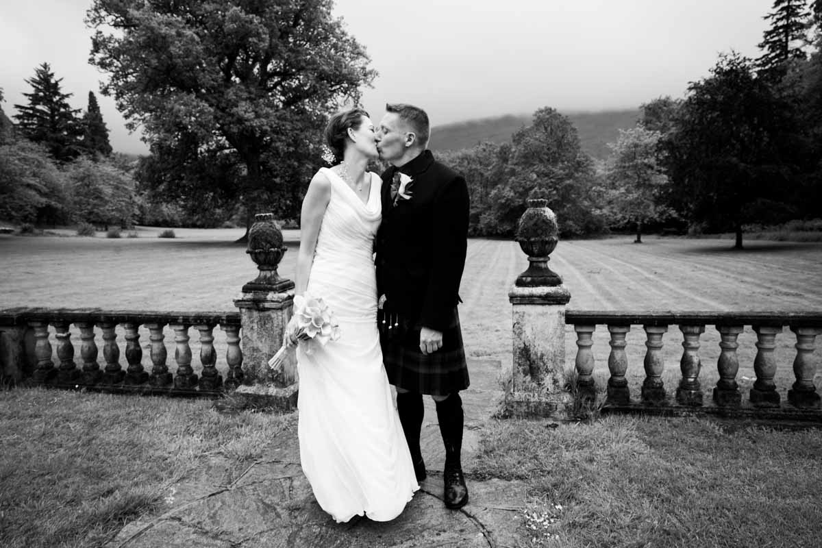 Bride and groom portraits in Culcreuch Castle gardens