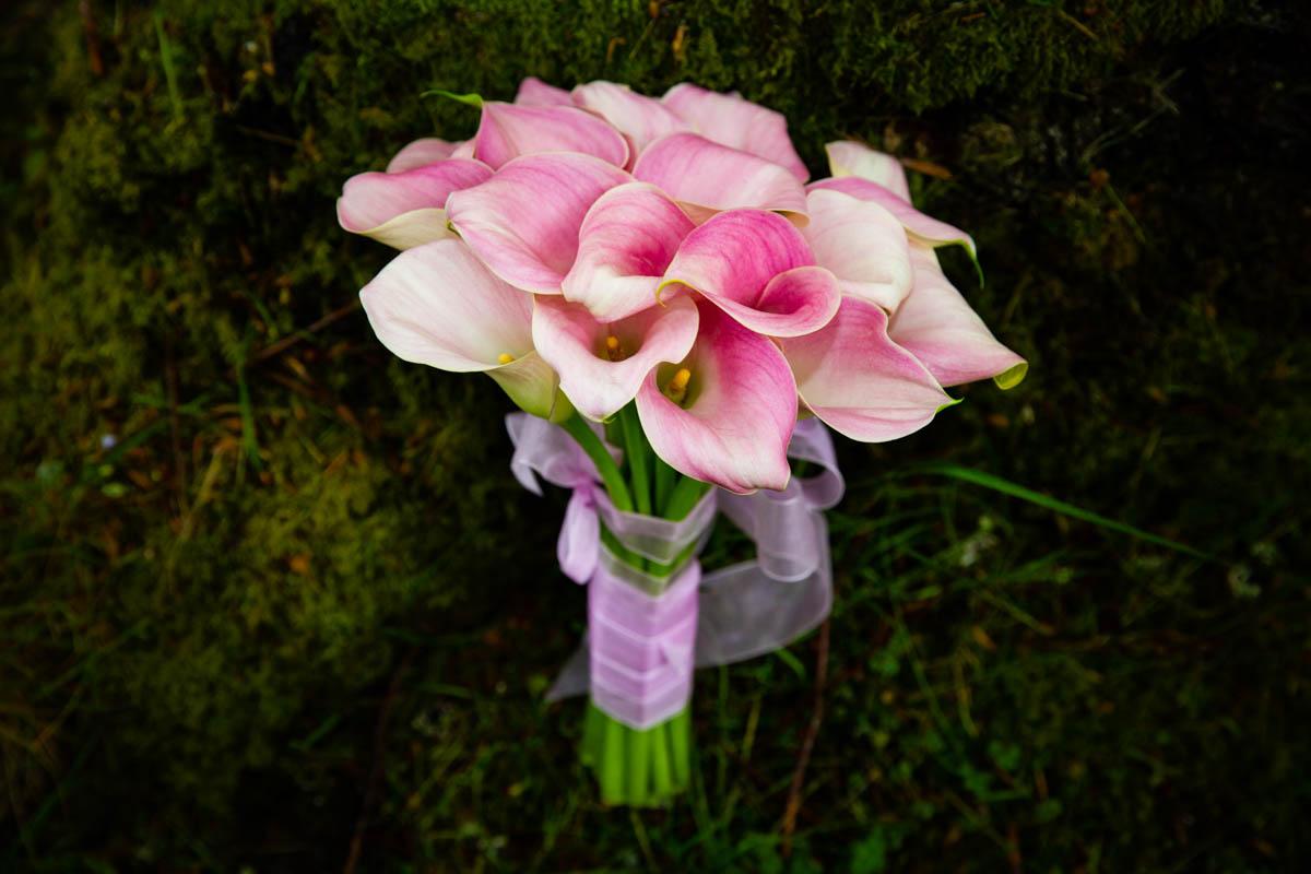 Pink bridal bouquet at Culcreuch Castle