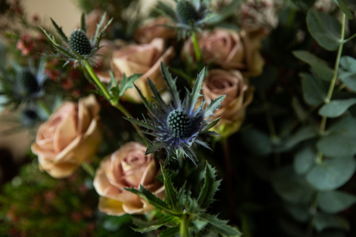 Wedding flowers at Culcreuch Castle wedding