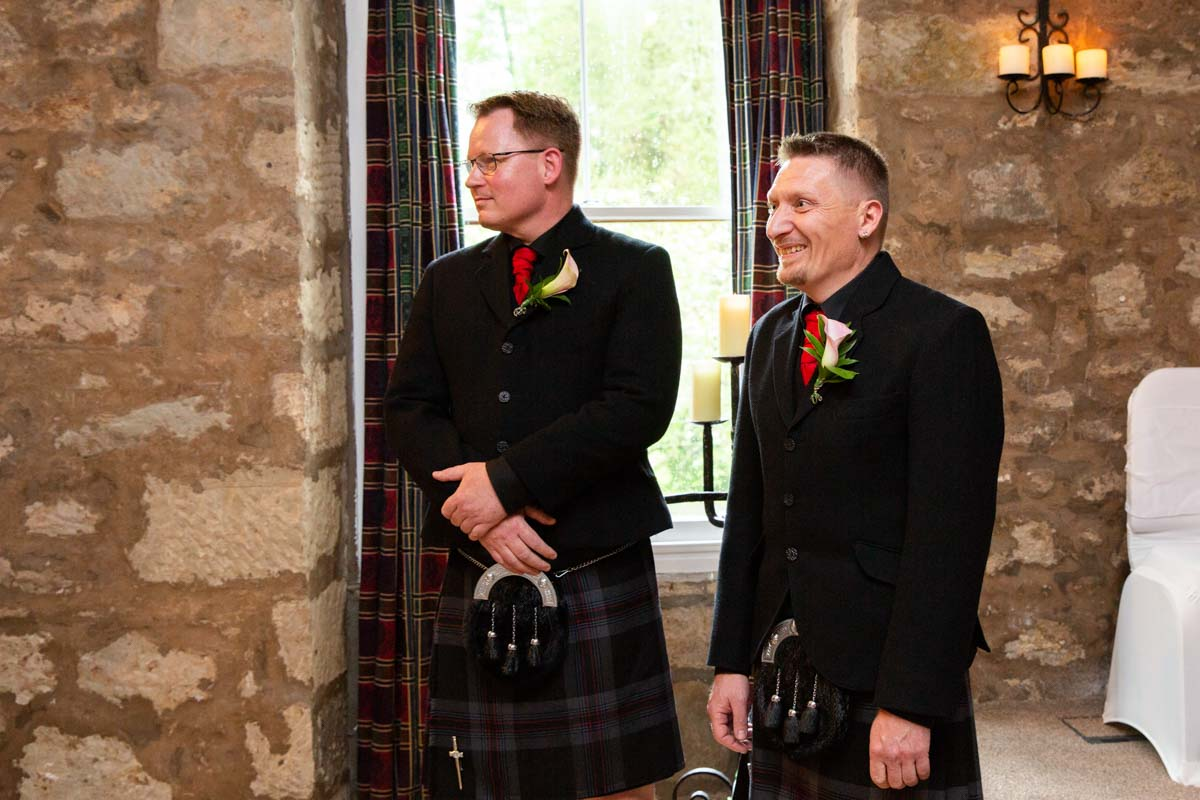 When the groom sees the bride at Culcreuch Castle wedding