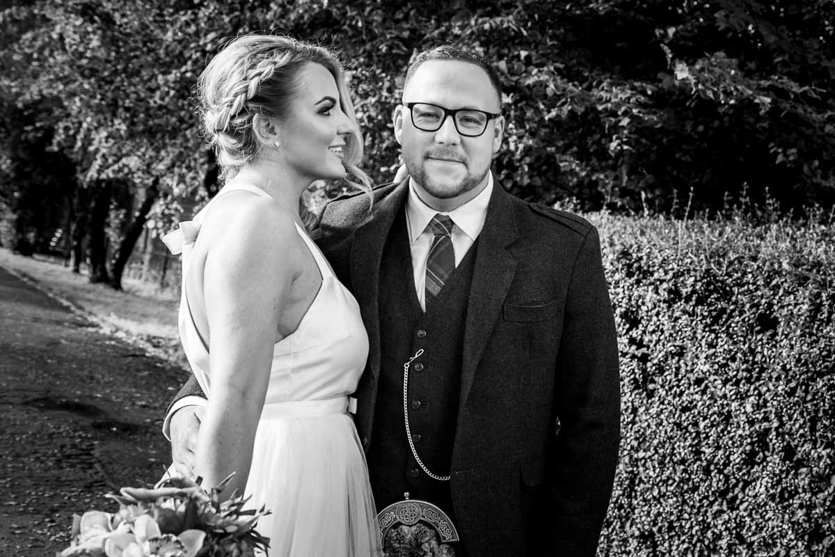 The Dumbuck Hotel wedding photography, outside bride and groom