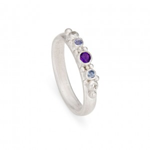 5 stone sterling silver inclusion ring with amethyst, tanzanite and natural diamond £280