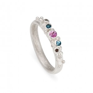 5 stone sterling silver inclusion ring with pink sapphire, aquamarine and natural diamond  £315
