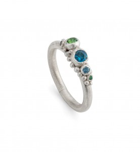barnacle ring with blue topaz, aquamarine, tsvorite garnet,sapphire and emerald £300