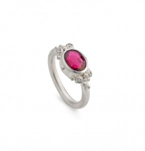 rublite ring with cubic zirconia set in silver £1020 (Rublite is a rare red tourmaline)