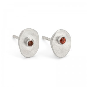 silver inclusion studs with orange sapphire £80