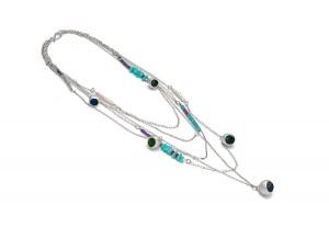 silver multi chain necklace with silver corals and assorted gem stones £450