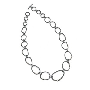 oxidised silver pebble chain with granulation and diamonds £1200 (available in other stones POR)
