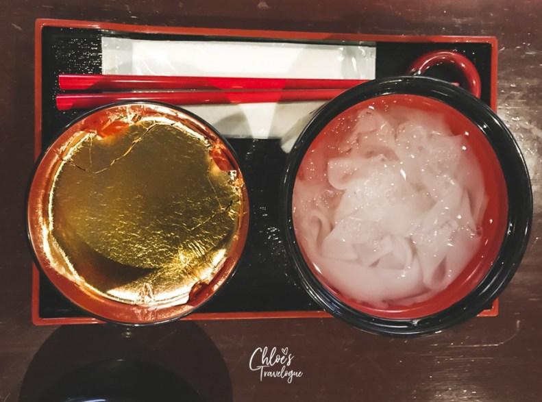 Higashi Chaya (Kanazawa Geisha District) | Try Kanazawa Gold-Leaf desserts at Kaikaro Tearoom inside a Japanese edo-period geisha house | #Kanazawa #higashichaya #Geisha #kaikaro #irori #japanesedessert #goldleaf | chloestravelogue.com