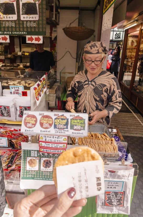 Things to Do in Asakusa   Asakusa Street Food & Etiquette: Yokan, Senbei Rice Cracker, Red Bean Paste Manju   #Asakusa #Tokyo #ThingstoDoinAsakusa #KaminarimonGate #Nakamise #AsakusaFood