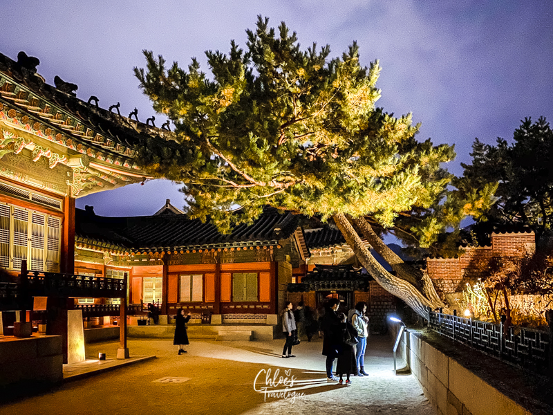 Gyeongbokgung Palace at Night: Amisan is a cozy garden with flower beds and decorated chimneys behind Gyotaejeon. | #Gyotaejeon #Gyeongbokgung  #SeoulatNight #VisitSeoul #TravelKorea