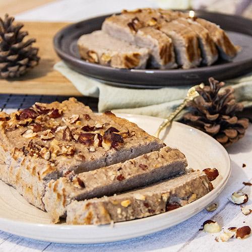 cake vegetalien banane noisettes sans oeufs sans lactose sans gluten