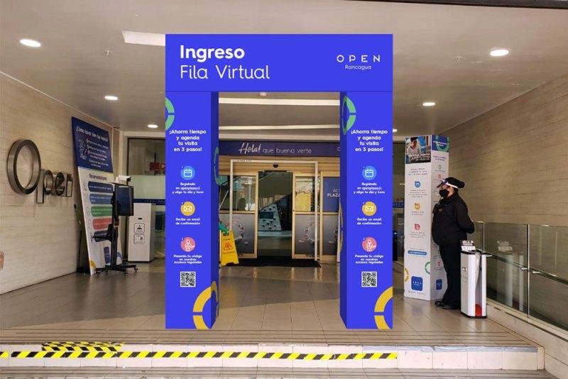 FIla virtual del Mall Open Plaza de Rancagua