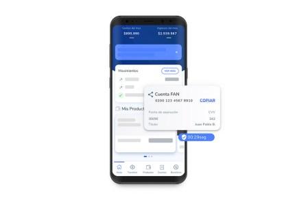 Aplicación móvil del Banco de Chile, con la visual de la cuenta vista FAN