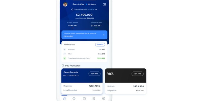 La vista de la nueva app Mi Banco de Banco de Chile