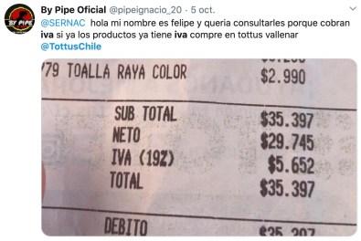 Inquietud sobre el desglose de IVA en las boletas de los supermercados Tottus