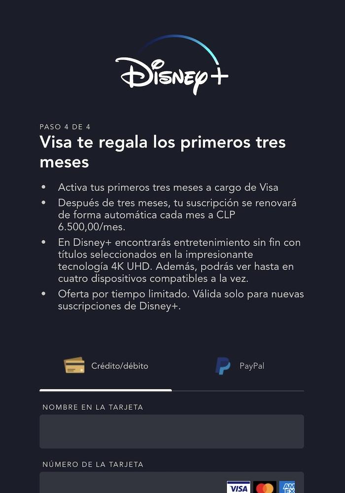 Formulario de registro al beneficio de Disney+ gratis para clientes Visa