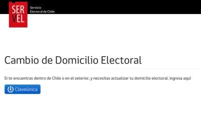 El cambio de domicilio electoral se realiza en la web del SERVEL