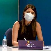 Katherine Martorell, subsecretaria de Prevención del Delito, anunciando cambios al plan Paso a Paso para Cuarentena y Transición