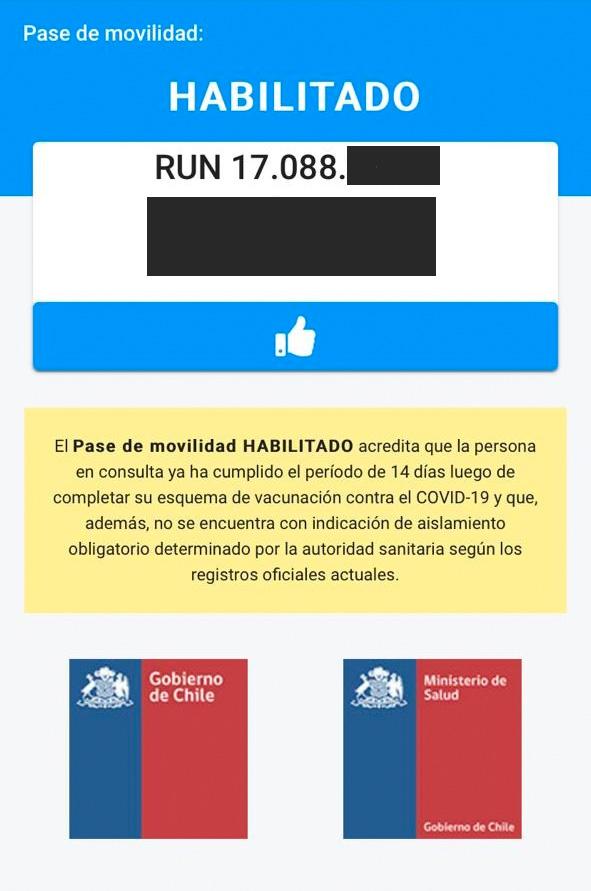 Pase de movilidad habilitado por el Ministerio de Salud y el Gobierno de Chile